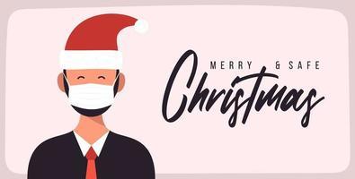 buon natale e sicuro. uomo d'affari in cappello di Babbo Natale che indossa una maschera protettiva contro il coronavirus. natale durante la pandemia. cartolina d'auguri festa di Natale. illustrazione vettoriale piatta.
