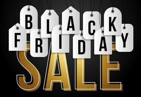 venerdì nero sul cartellino del prezzo. insieme di vettore dei buoni di prezzo in bianco isolati realistici per la vendita del venerdì nero per la decorazione e la copertura sui precedenti neri.
