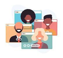 videoconferenza di una riunione di gruppo aziendale. lavoro a distanza. lavoro da casa, webinar online. riduzione dei contatti. illustrazione di vettore di concetto di tecnologia online.
