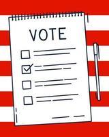 concetto di bollettino del documento di voto. elenco simpatico cartone animato, scelta di opzioni e penna. scelta di voto elettorale concetto. doodle stile disegnato a mano. vettore illustrazione colorata su sfondo bandiera americana