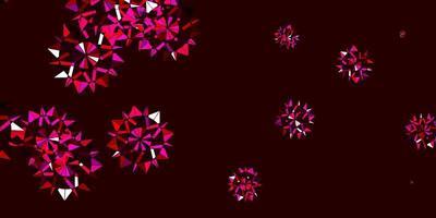 texture vettoriale viola chiaro, rosa con fiocchi di neve luminosi.