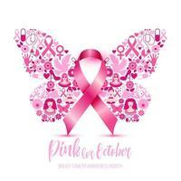 consapevolezza del cancro al seno con segno di farfalla