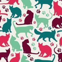 Seamless pattern di sfondo di gatti vettore