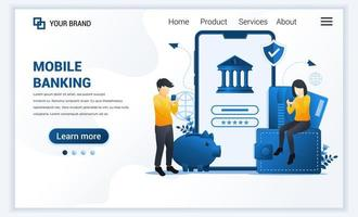 illustrazione vettoriale di servizi bancari in linea, concetto di investimento finanziario in linea con i personaggi. design moderno modello di pagina di destinazione web piatto per sito Web e sito Web mobile. stile cartone animato piatto