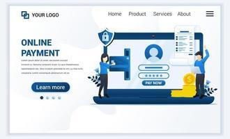 illustrazione vettoriale di pagamento online o concetto di trasferimento di denaro con persone che effettuano operazioni di pagamento. design moderno modello di pagina di destinazione web piatto per sito Web e sito Web mobile. stile cartone animato piatto