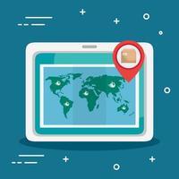 dispositivo tablet con app di consegna e mappa del mondo