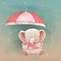 un simpatico elefante e un ombrello