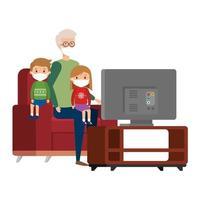 soggiorno a casa campagna con la famiglia che guarda la tv