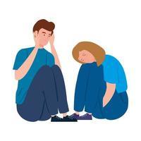 giovane coppia depressa e stressata