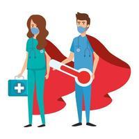 operatori sanitari che indossano maschere facciali come supereroi vettore