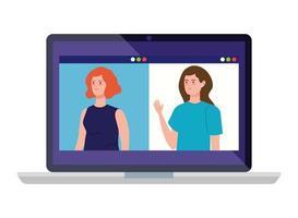 donne in una videoconferenza sul laptop vettore