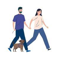 coppia che cammina insieme il loro cane