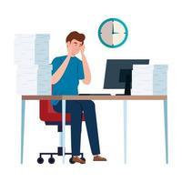 uomo nervoso sulla sua scrivania con molto lavoro da fare