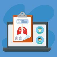 tecnologia online di medicina con laptop e icone meeical