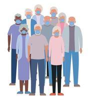 donne e uomini anziani con maschere contro il design covid 19