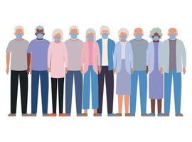 donne e uomini anziani con maschere contro il design covid 19 vettore