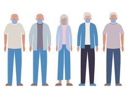 uomini e donne anziani con maschere contro il disegno vettoriale di covid 19