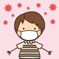 ragazzo bambino con maschera contro il disegno vettoriale del virus ncov 2019