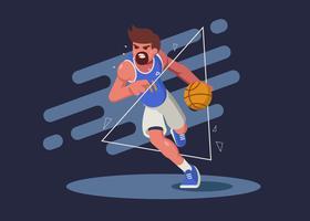 Illustrazione dell'azionamento del giocatore di pallacanestro vettore