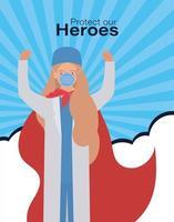 eroe medico donna con mantello contro disegno vettoriale 2019