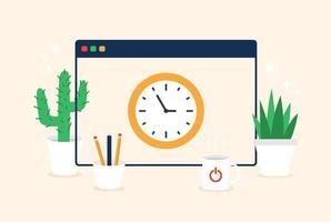 ora dell'orologio dello schermo della finestra. icone web di colore vettoriale in stile piatto del fumetto. illustrazione creativa con pianta, tazza di tè e matite