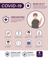 covid 19 consigli per la prevenzione dei virus e avatar uomo con disegno vettoriale maschera