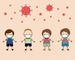 ragazzi bambini con maschere contro il disegno vettoriale del virus ncov 2019