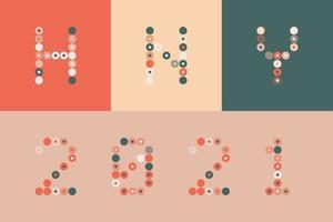 felice anno nuovo 2021 vettore cerchio pixel art tipografia. illustrazione della cartolina d'auguri di vacanze. lettere da strisce, cerchi e punti. poster geometrici del nuovo anno come il tabellone segnapunti elettronico.