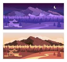 insieme dell'illustrazione di vettore di colore piatto delle montagne di giorno e di notte
