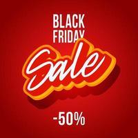 gli sconti del black friday sono del 50 percento. banner quadrato rosso il venerdì nero con scritte in vendita illustrazione vettoriale