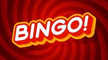 bingo modello di effetto testo rosso e giallo con stile di tipo 3d e illustrazione vettoriale sfondo rosso turbinio concetto retrò.