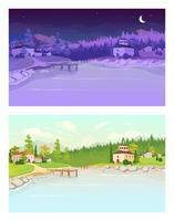 illustrazione di vettore di colore piatto del villaggio di giorno e di notte