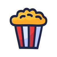 disegno dell'icona di popcorn. scatola di popcorn isolati su sfondo bianco. mano disegnare fumetto doodle illustrazione vettoriale.