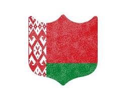 grunge scudo a forma di bandiera della Bielorussia stock illustrazione vettoriale su sfondo bianco