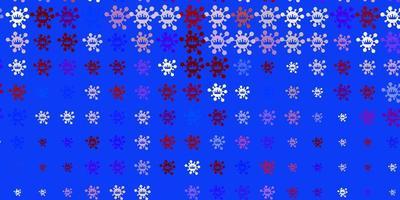modello vettoriale azzurro e rosso con elementi di coronavirus