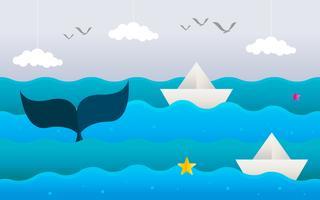 Paper Art Mare e paesaggio di pesci vettore