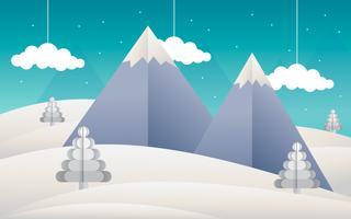 Paesaggio di arte di carta di montagna vettore