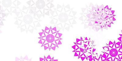 sfondo vettoriale rosa chiaro con fiocchi di neve di Natale.