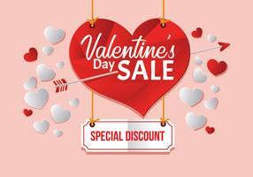 Grande vendita di San Valentino, illustrazione vettoriale modello di poster