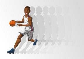 Una palla della tenuta del giocatore di pallacanestro vettore
