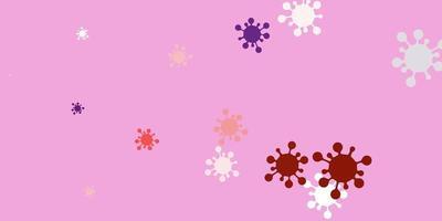 trama vettoriale rosa chiaro, rosso con simboli di malattia