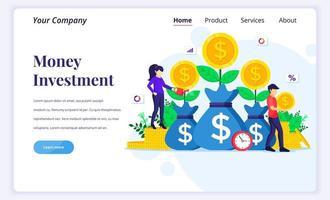 concetto di design della pagina di destinazione dell'investimento di denaro, persone che innaffiano l'albero dei soldi, raccolgono monete, aumentano i profitti dell'investimento finanziario. illustrazione vettoriale piatta