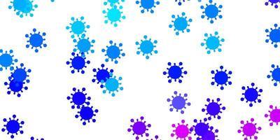 sfondo vettoriale rosa chiaro, blu con simboli di virus