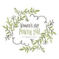 Carino foglie e rami con citazione all'interno per la giornata della donna vettore