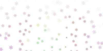 struttura di doodle di vettore rosa chiaro, verde con fiori.
