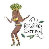Sexy ballerina brasiliana con foglie vettore