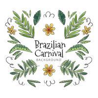 Carino sfondo tropicale con foglie e fiori al carnevale brasiliano vettore