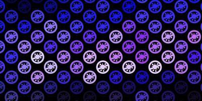sfondo vettoriale viola scuro con simboli covid-19.