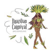 Ballerina brasiliana sexy e tropicale con foglie vettore