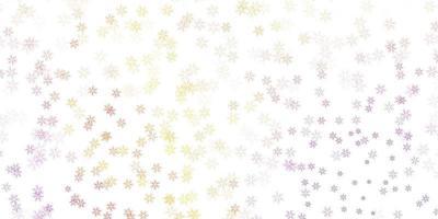 sfondo astratto vettoriale rosa chiaro, giallo con foglie.